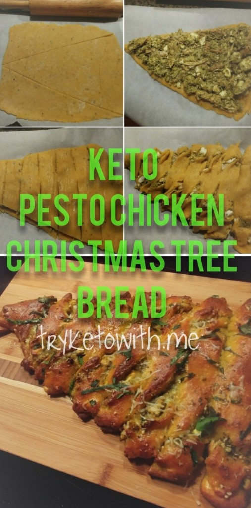 Keto Pesto Chicken Christmas Tree Bread