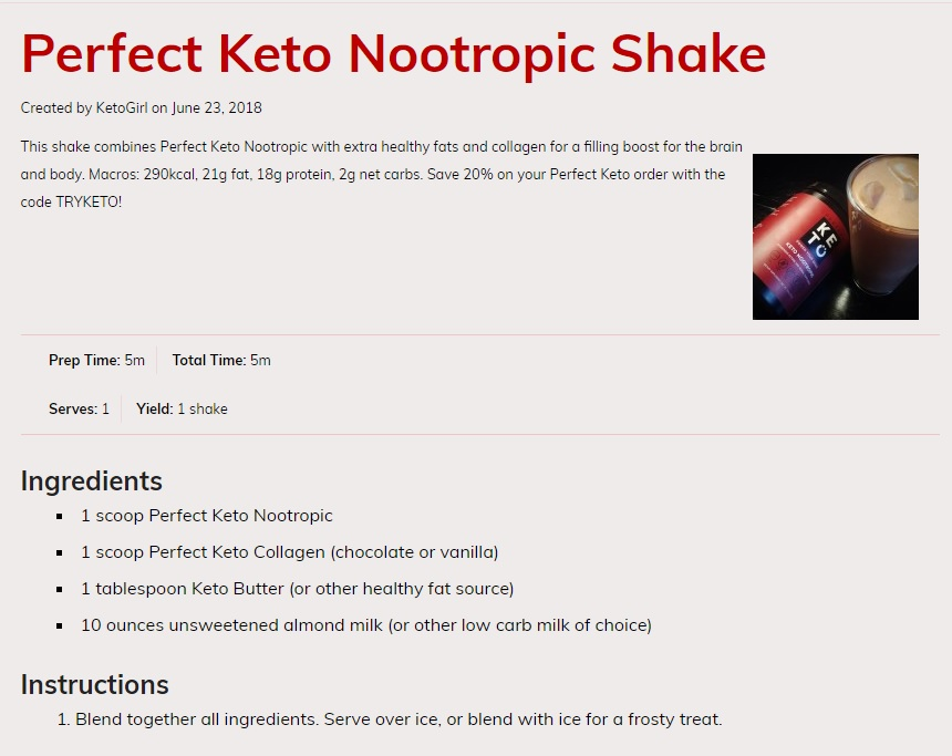 Nootropic Shake Recipe